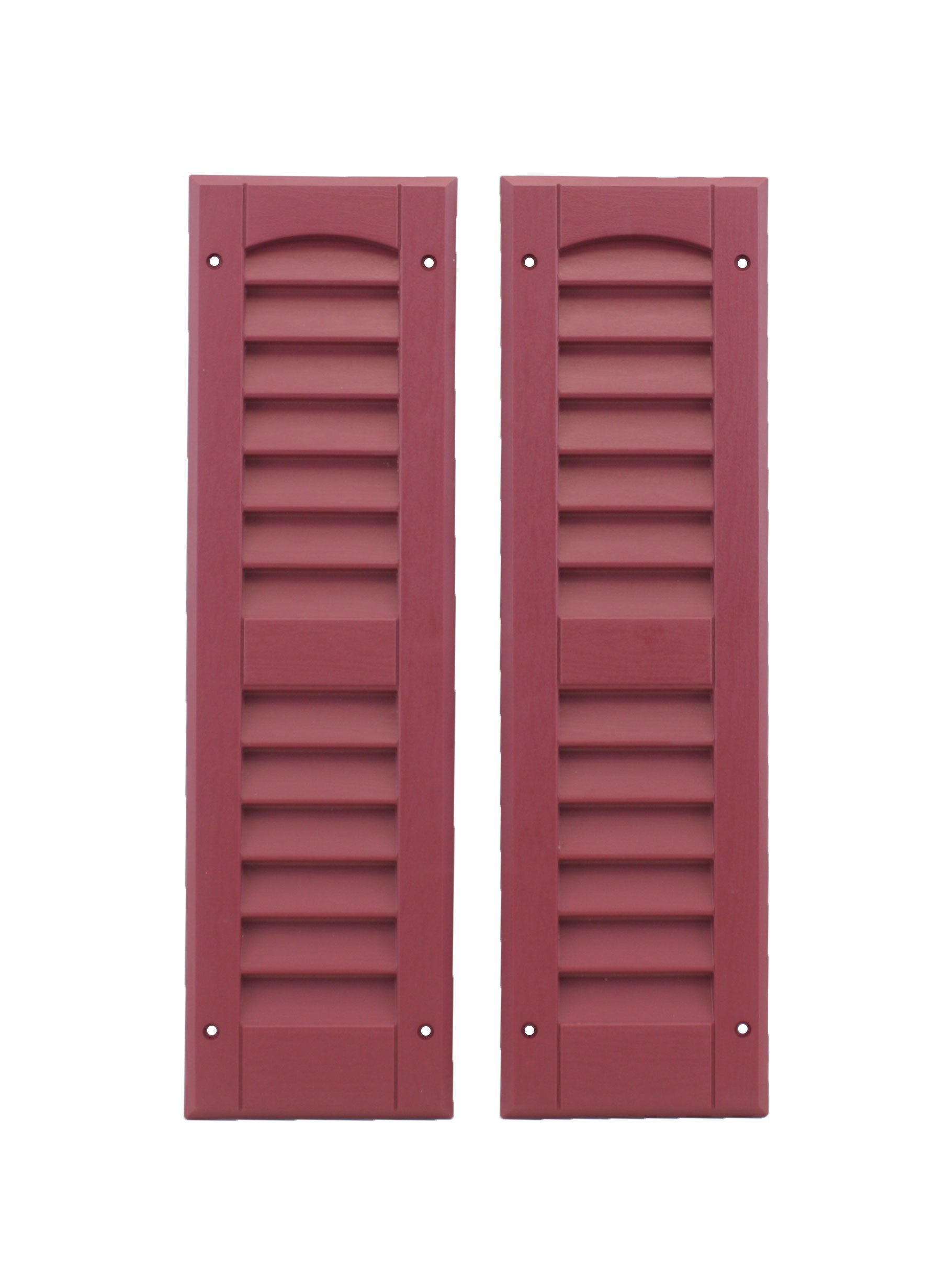 Louvered Shed Shutter or Playhouse Shutters Maroon 6'' X 21'', 1 Pair