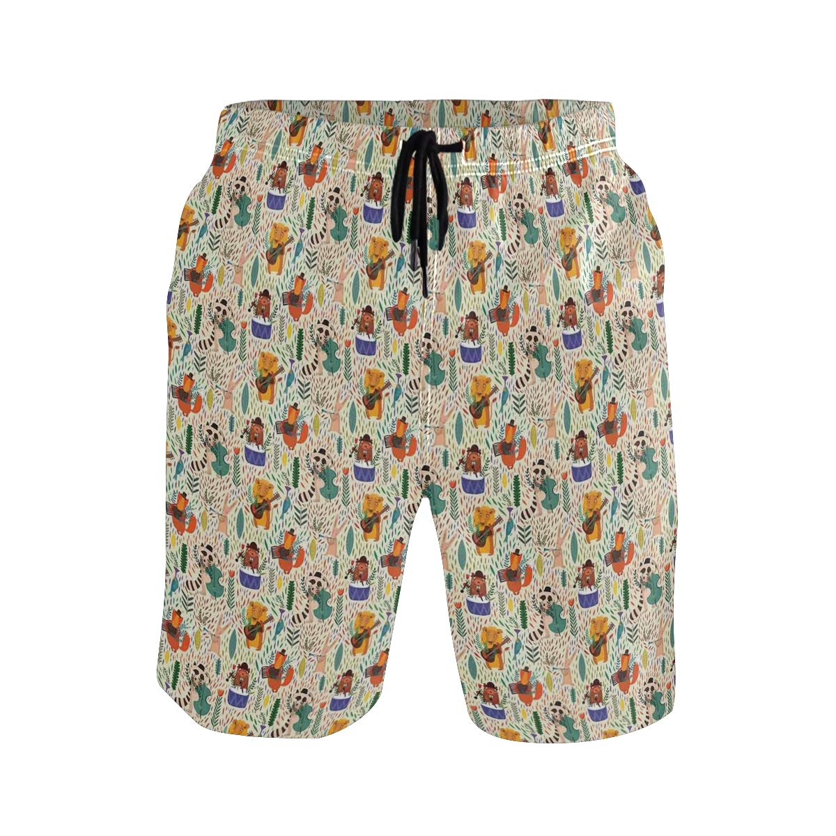 KVMV Jolly Frog with Greater Eye Lizard Gecko Smily Childish Casual Swim Trunks All