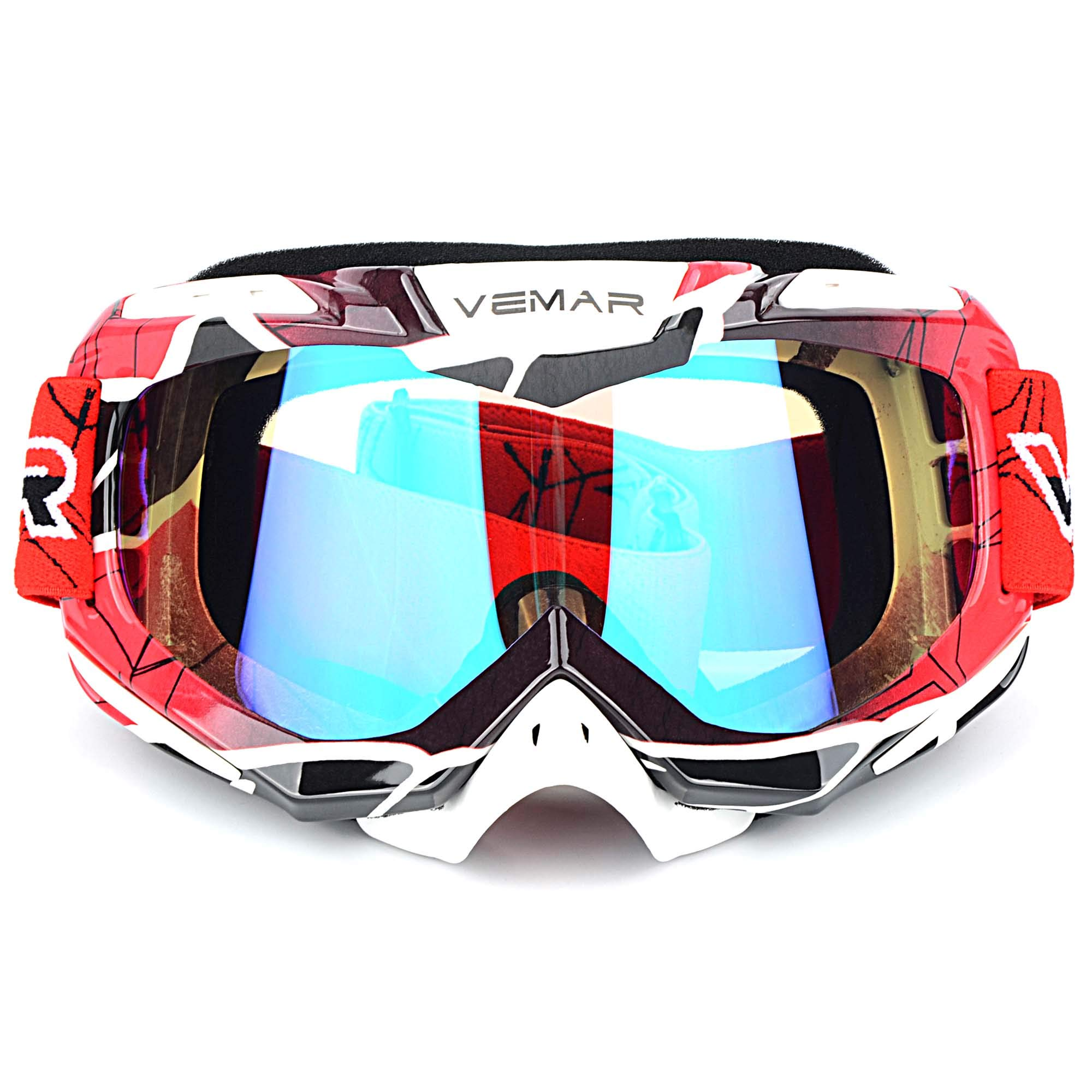 Polarized Sport Motorcycle Motocross Goggles ATV Racing Goggles Dirt Bike Tactical Riding Motorbike Goggle Glasses, Bendable Windproof Dustproof Scratch Resistant Protective Safety Glasses (Red) by Ubelly