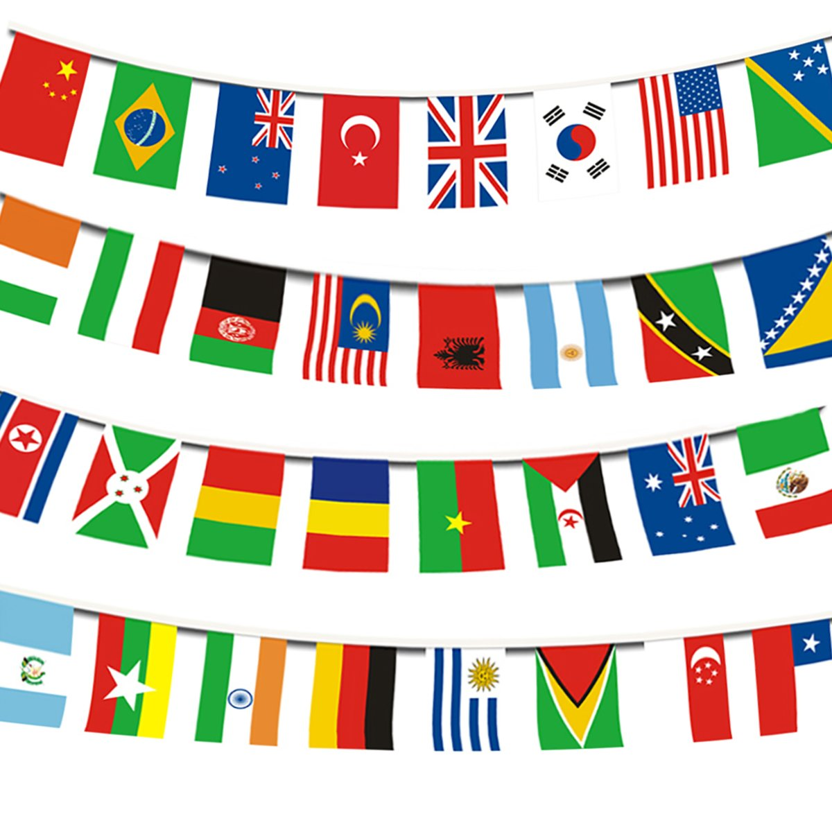 Echolife 200 Countries International String Flag Bunting Banner 164ft World Cup Flag Banners for Bar Sports Party Decorations (200 Countries Flag)