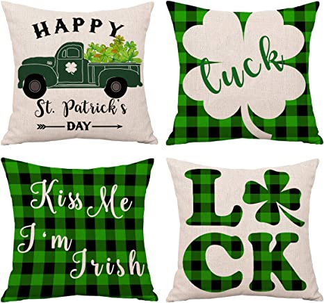St Patrick/'s Day Pillow Covers 18 x18 Inch Buffalo Check Throw Pillow Cover