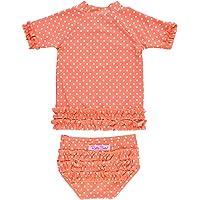 RuffleButts Little Girls Rash Guard 2-Piece Swimsuit Set - Polka Dot Bikini with UPF 50+ Sun Protection