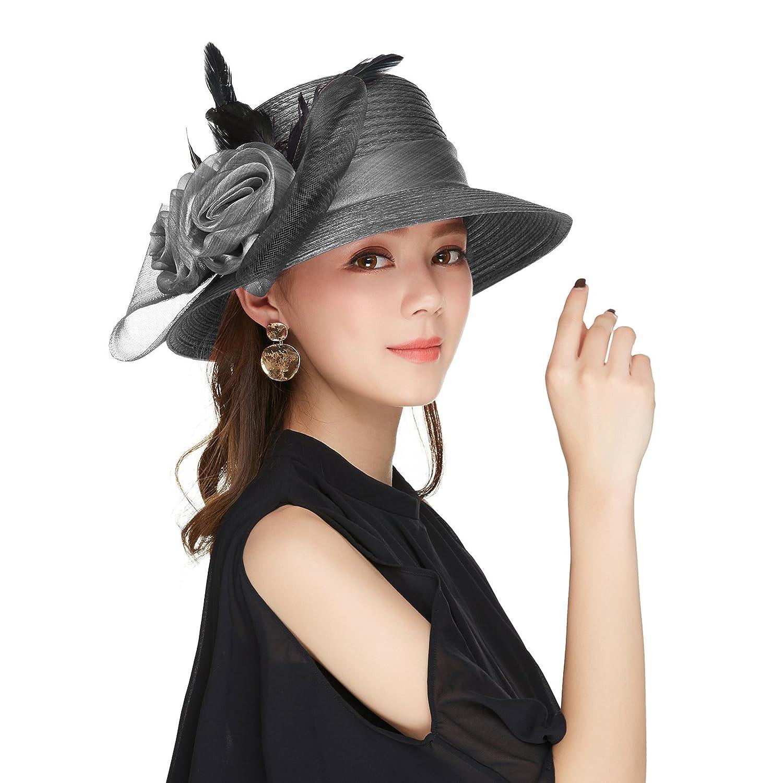 66d90ebe00fda Ladies Fancy Church Hats Tea Party Fascinator Hats for Women (Black) at  Amazon Women's Clothing store: