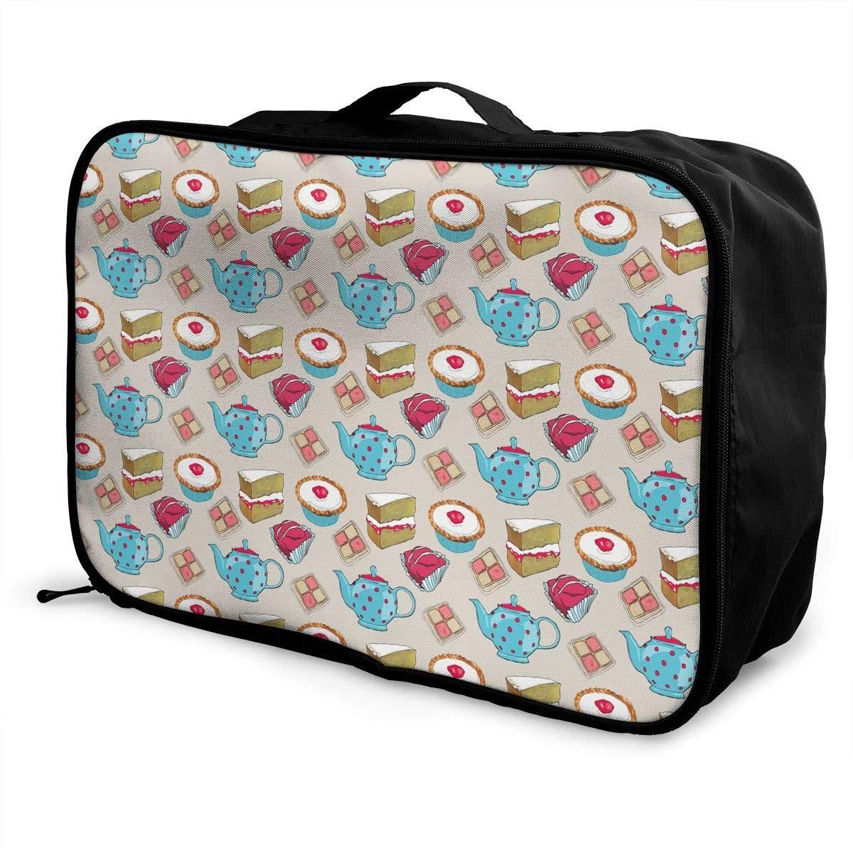 Travel Luggage Duffle Bag Lightweight Portable Handbag Cake Teacup Pattern Large Capacity Waterproof Foldable Storage Tote