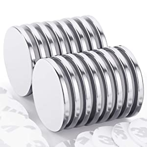 Strong Neodymium Disc Magnets with Double-Sided Adhesive, Powerful Permanent Rare Earth Magnets for Fridge, DIY, Building, Scientific, Craft, and Office Magnets, 1.26'' D x 1/8'' H, Pack of 16