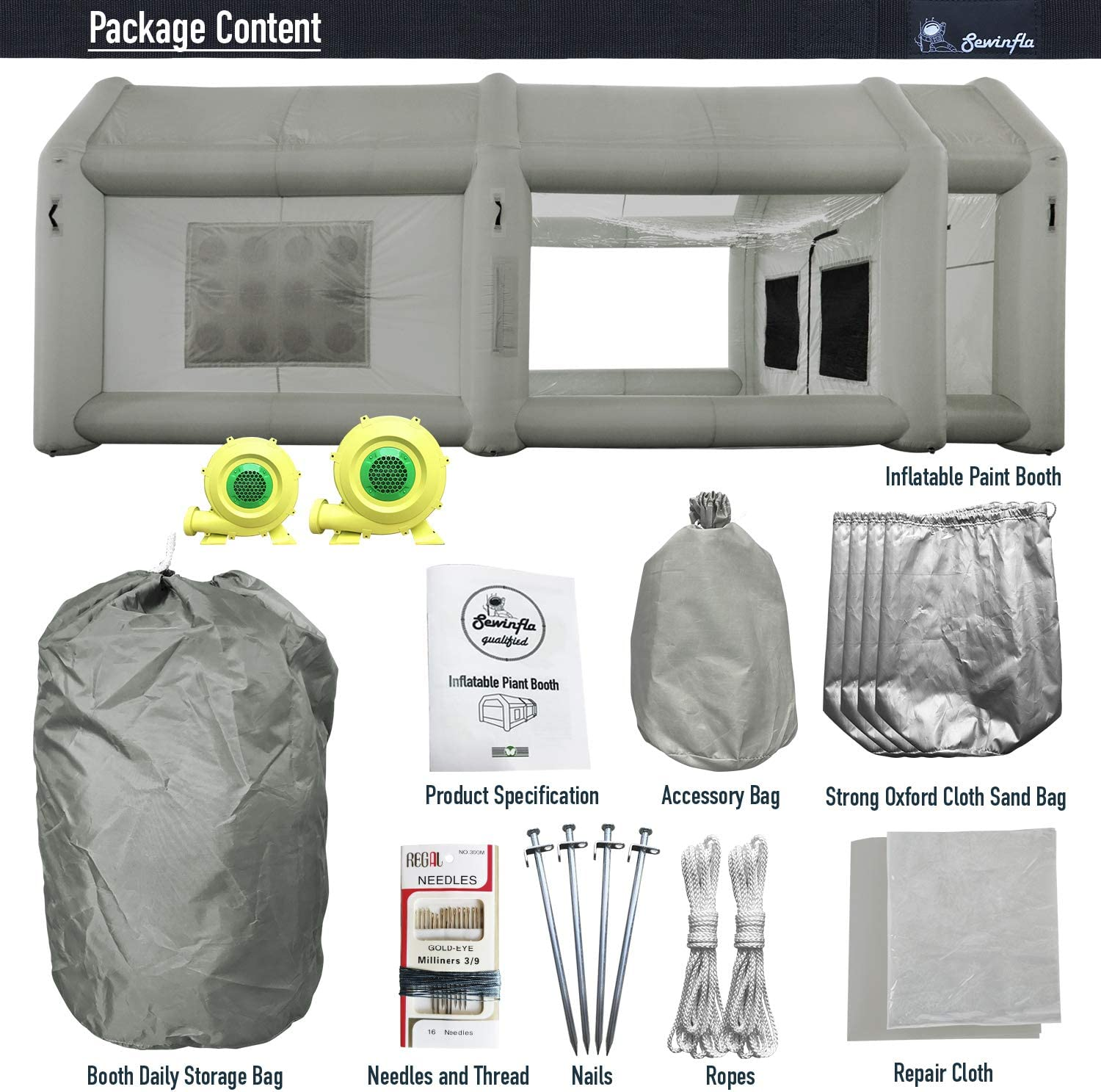Inflatable Paint Booth 23x13x8.5Ft with Blower SEWINFLA Inflatable Spray Booth Portable Car Painting Booth Tent for Car Garage Upgrade More Durable with Air Filter System Camouflage