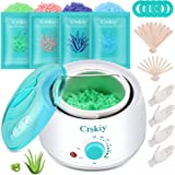 Crskiy Waxing Kit, Wax Warmer Hair Removal for Women and Men, with 4 Bags(14.1oz) Multiple Formulas Hard Wax Beans, 20…