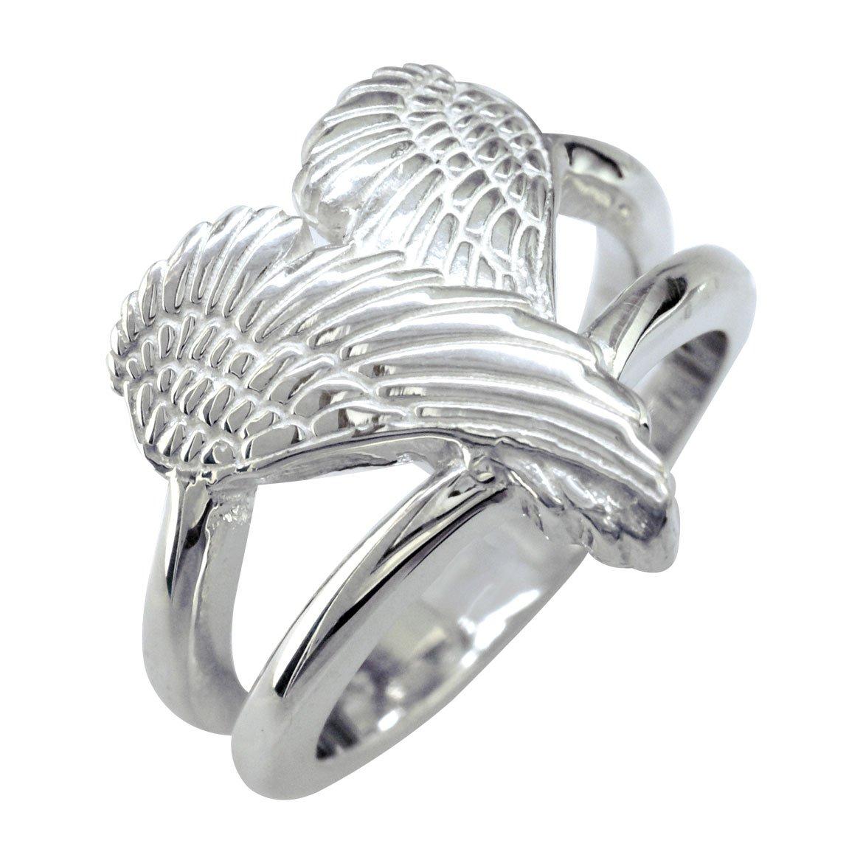 Medium Angel Heart Wings Ring, Wings Of Love, 17mm in Sterling Silver size 9.5
