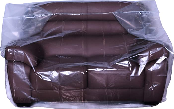 Wowfit Furniture Cover – Dust-Proof Moving Bag for Love seat, Sofa, Moving Boxes – Clear & Odorless Plastic Bag for Moving – 4mil Thick Loveseat Cover(Not Include Tape) – 68W x 42D x 62/41H Inches