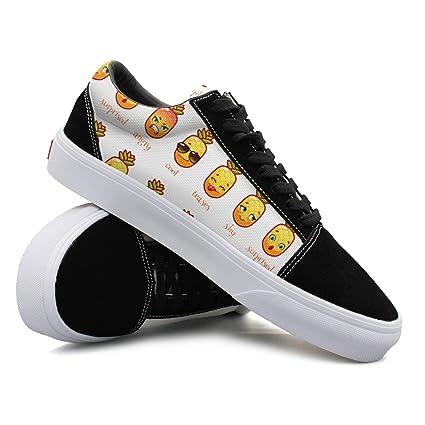 Funny Pineapple Emoji Pattern Women Casual Sneakers Shoes Canvas Lo-Top Fashion Vegan