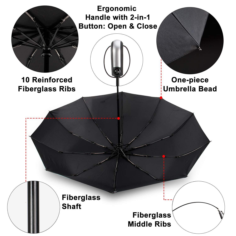 TradMall Travel Umbrella with 10 Reinforced Fiberglass Ribs 42'' Large Canopy Ergonomic Handle Auto Open & Close, Black by TradMall (Image #4)