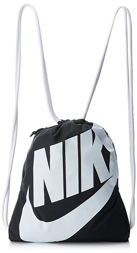 Amazon.com  Nike Heritage Gym Sack Black White Size One Size  Sports ... b598277aee