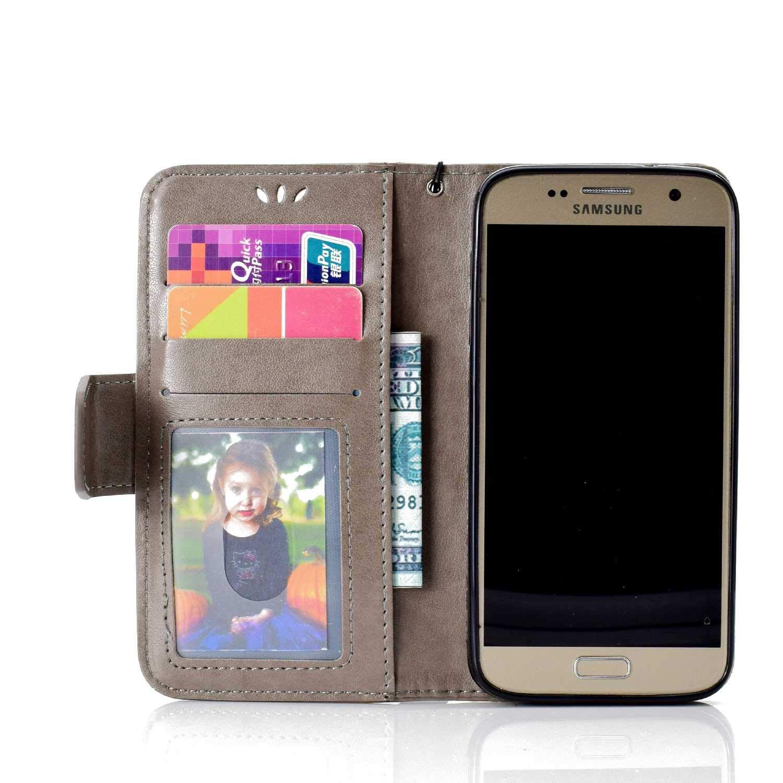 DNEDICO Custodia Flip Eccellente in Pelle Sintetica a Portafoglio per Samsung Galaxy A8 2018 Custodia con Scomparti di Carte e Funzione Supporto Oro Cover Galaxy A8 2018