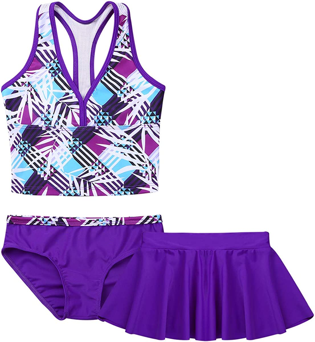 dPois Kids Girls 3Pcs Tankini Set Swimsuit Swimwear Bathing Suit Racerback Tops with Swimming Briefs and Skirt