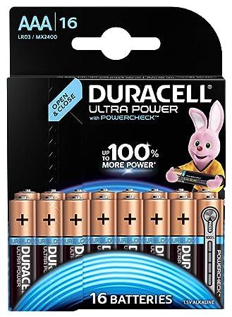 Duracell Ultra Power - Pilas alcalinas AAA, paquete de 16 unidades