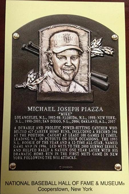 Mike Piazza Stamped And Canceled Hall Of Fame Gold Plaque
