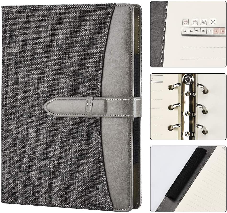 SEEALLDE Cuaderno de Lino A5 Cuaderno Recargable de Calidad con Portabolígrafo,Carpeta de Conferencia para Cuaderno de Negocios, 120 hojas / 240 Páginas Gruesas Suficientes para Escribir(Gris A5 Lino)