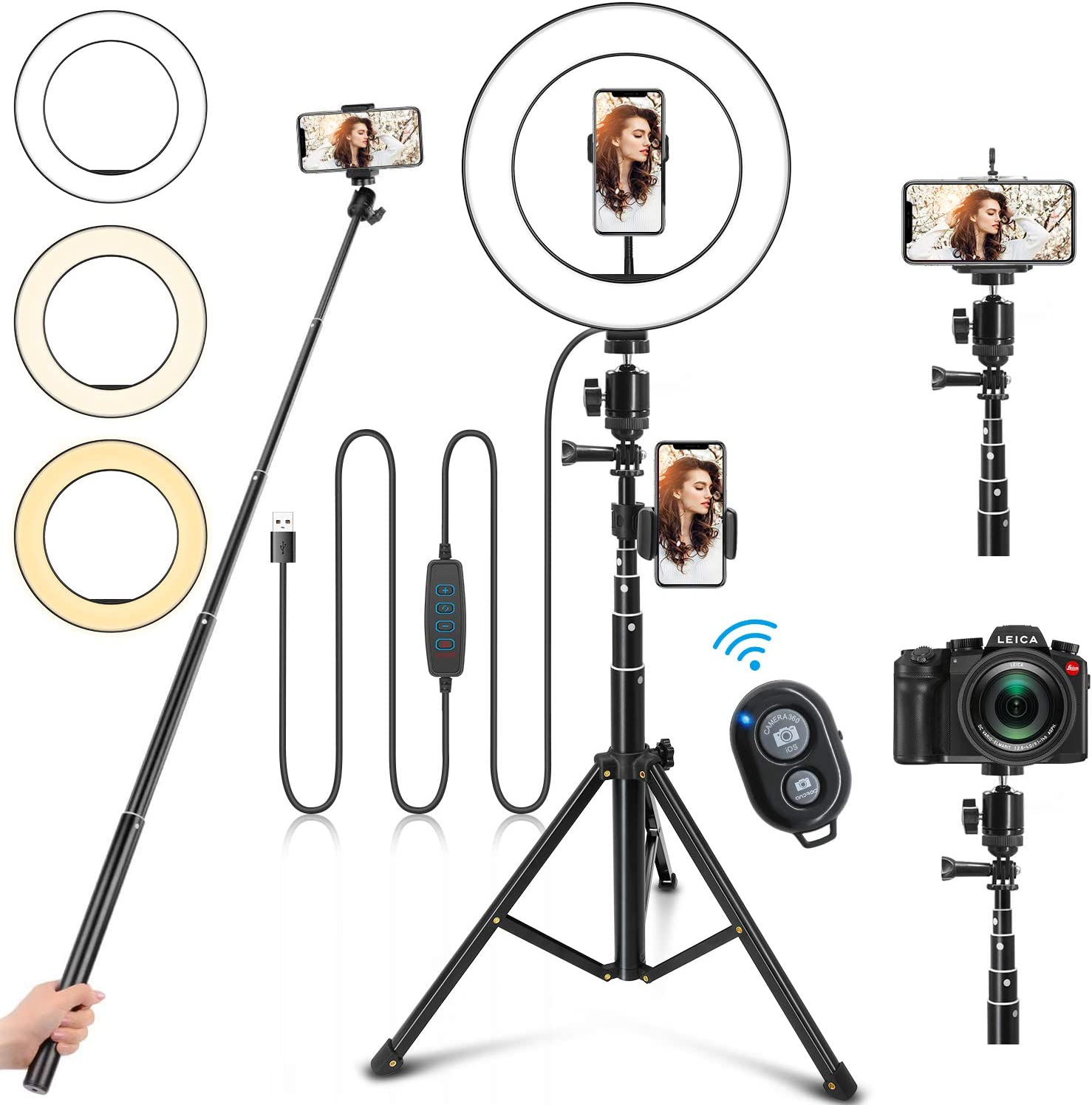 """Selfie Ring Light with Stand, 10"""" Ring Light with Tripod Stand &3 Phone Holder, Dimmable LED Ring Light for iPhone Desktop Selfie Light Ring Led Camera Ringlight for Live Stream/Makeup/YouTube/TikTok"""