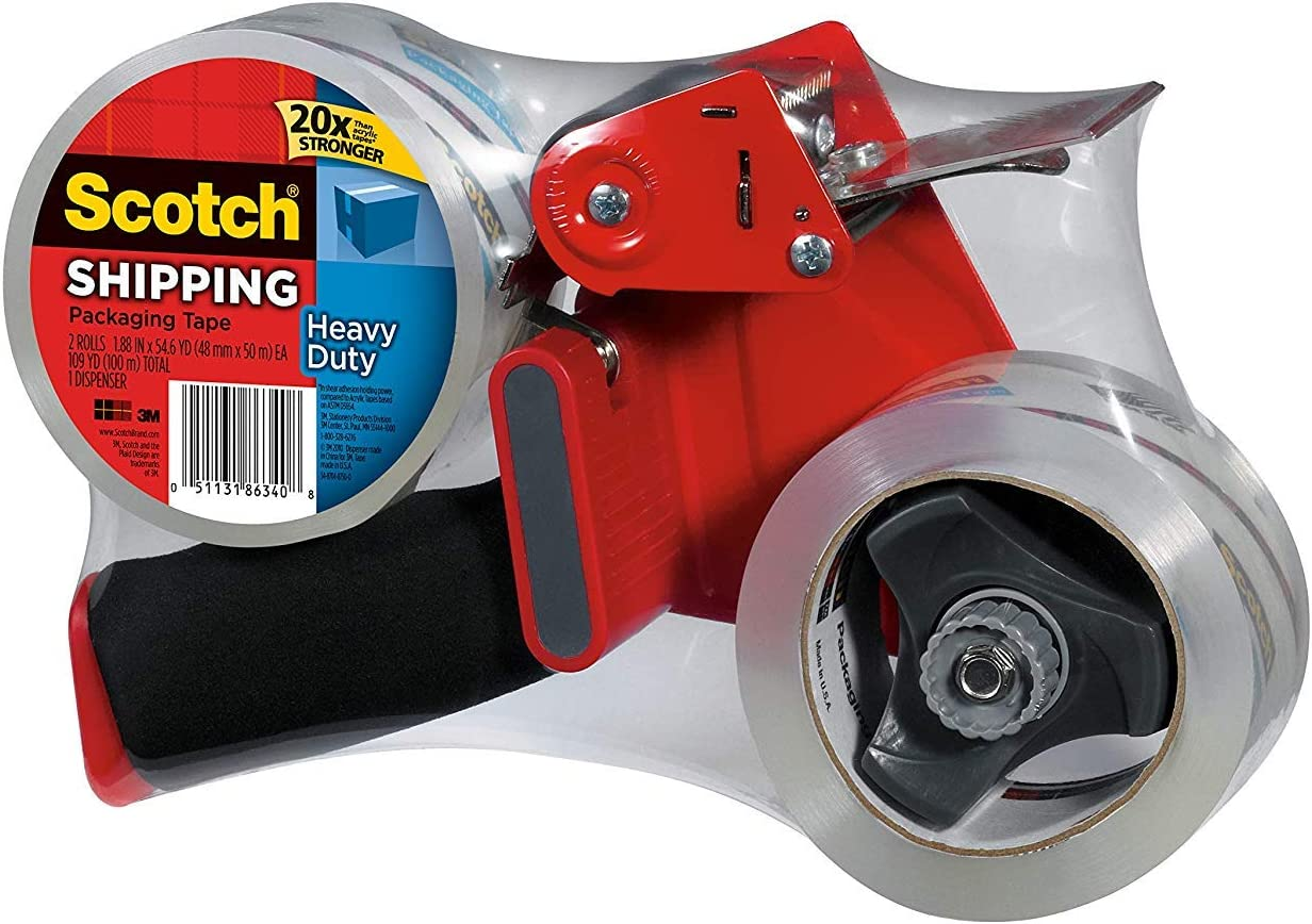 Designed for Standard 3 Core Rolls Scotch Packaging Tape Dispenser with 2 Rolls of Heavy Duty Shipping Packaging Tape Retractable Blade and Adjustable Brake 3850-2ST - 2 Pack Foam Handle