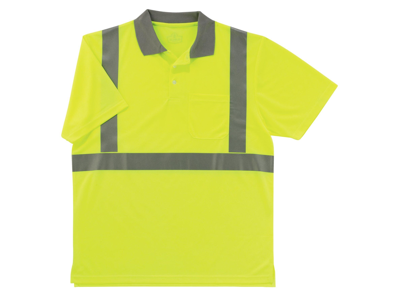 Ergodyne GloWear 8295 ANSI High Visibility Lime Reflective Polo Shirt, 3X-Large