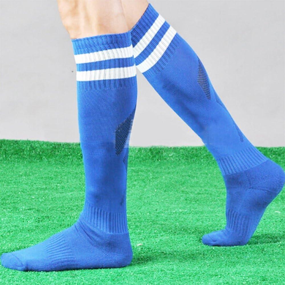 Merssavo Knee High Athletic Soccer Tube Socks Solid Long Football Soccer Socks Blue 16-26cm