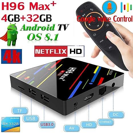 tv box android 8.1 4gb 64 gb telecomando vocale  TV Box Android 8.1 + Telecomando Vocale: : Elettronica