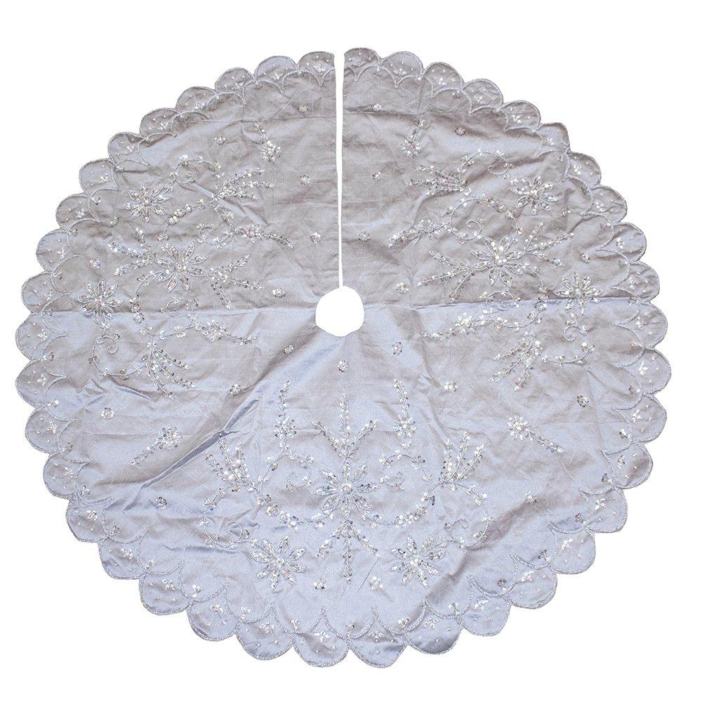 Kurt Adler 48\' Silver Hand Embroidery Treeskirt TS0158