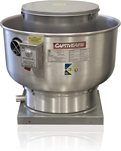 Restaurant Canopy Hood Grease Rated Exhaust Fan- High Speed Direct Drive Centrifugal Upblast Exhaust Fan with speed control- 24 3 4 Base, 0.75 HP 115 Volt Single Phase Motor, 1500-2200 CFM DU85HFA