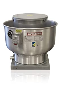 "Restaurant Canopy Hood Grease Rated Exhaust Fan- High Speed Direct Drive Centrifugal Upblast Exhaust Fan with speed control- 19"" Fan Base, 0.180 HP 115 Volt Single Phase Motor, 100-500 CFM (DU12HFA)"
