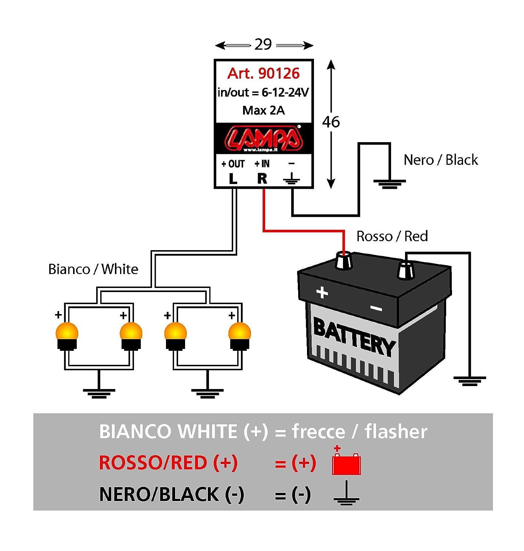 Dispositivo elettronico lampeggiatore per indicatori Led 6//12 // 24V 1 pezzo Lampa 90126 Multicolore