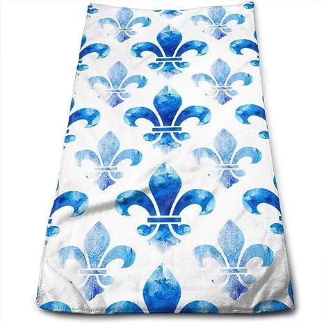 Amazoncom Azoula Blue Fleur De Lis Face Hand Towels Microfiber