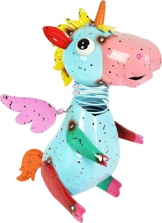 "Colorful, Flying Unicorn Statue – Cute, Metal Unicorn Sculpture w/ Spring Bobblehead – Fairy Garden Unicorn - Durable & Hand-Painted Metal Art Unicorn for Home & Garden Décor, 5"" L x 9.5"" W x 11.5"" H"