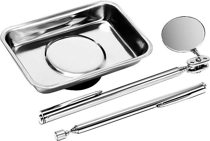 Kit d/'inspection magnetique miroir flexible /Ø 32 mm extensible jusqu/à 460 mm Stylo magn/étique t/élescopique jusqu/à 625 mm S/&R Plateau magn/étique 64x93mm