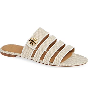 6767a2dd9 Tory Burch Women s Kira Slides Flat Shoes Sandals Luggage Canvas Patent  Strappy (6 M US