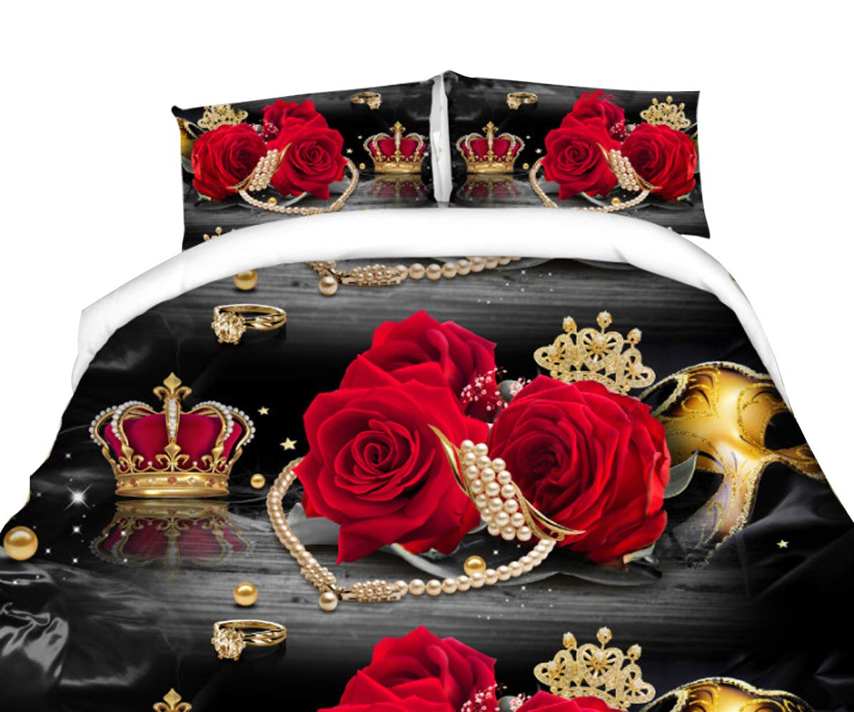 Chengmei 3D Crown Floral Duvet Cover Bedding Set Comforter Shell Bedclothes Queen Size 4Pcs