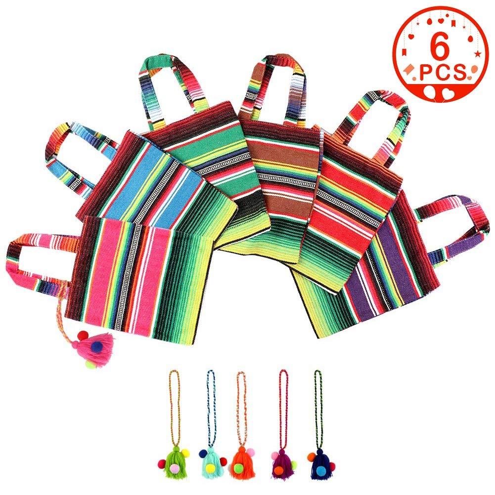 OurWarm (アワーウォーム) 手織り メキシカン トート フェイバー バッグ、カラフル タッセル メキシカンギフト トリート バッグ スナック、アート&クラフト、食料品、フィエスタ パーティー サプライ 25.4cm x 20.32cm (6個セット) B07MY5G7MR