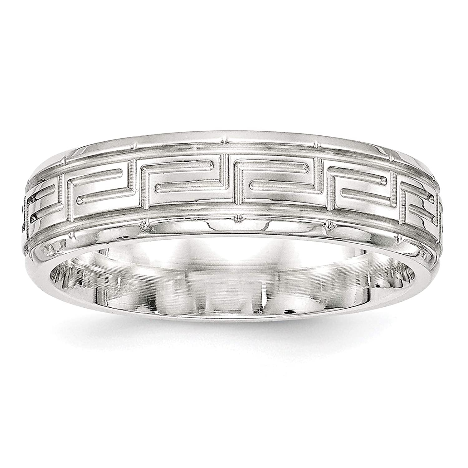 925 Sterling Silver Polished 6mm Fancy Beveled Edge Wedding Ring Band Size 7-13.5