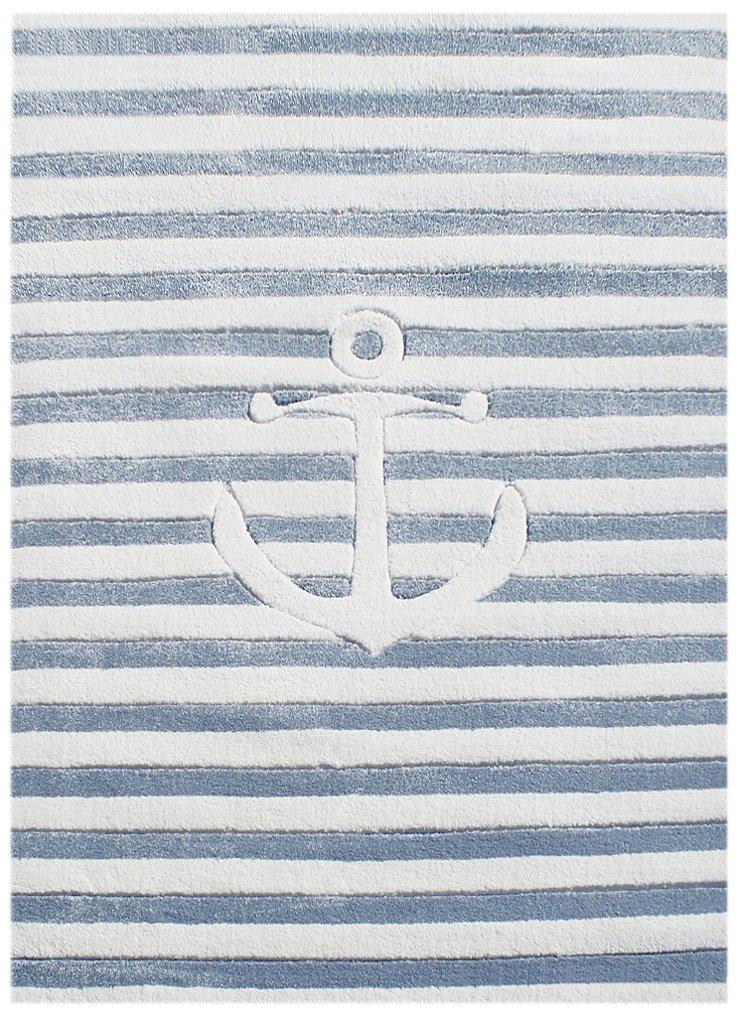 Livone Kinderteppich Happy Rugs AUF Hoher See 7 hellblau Weiss 160 x 230 cm
