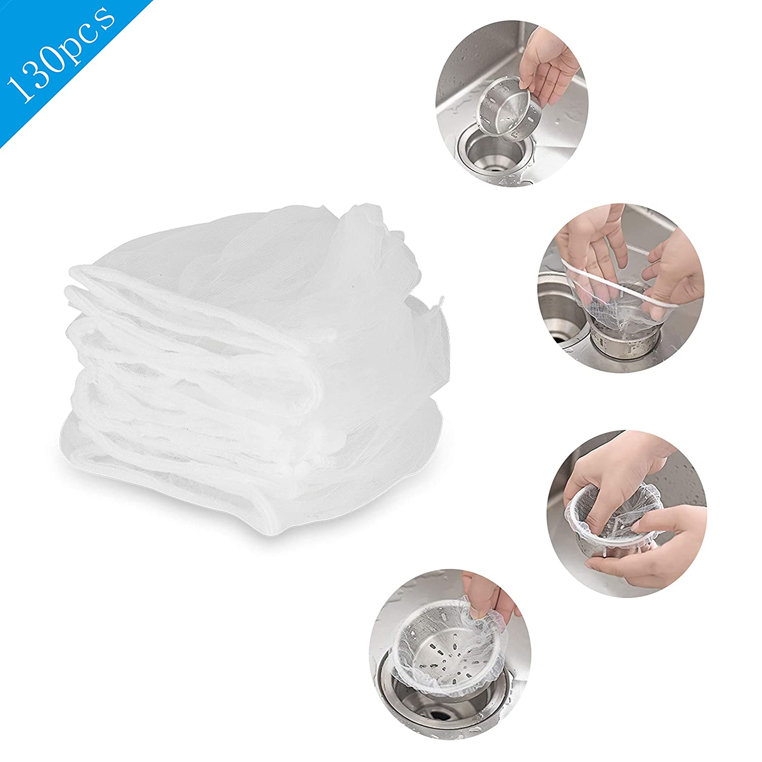 130 PCS Sink Strainer Bag Disposable Mesh Sink Strainer Bags for Kitchen and Bathroom White Suitable for all Sizes of Sinks