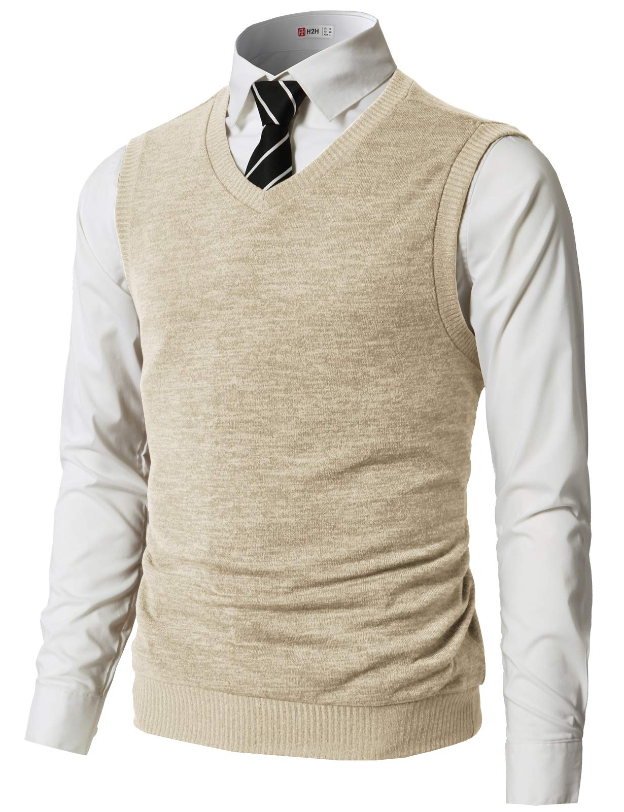 a14a19acfc Galleon - H2H Mens Basic Fashion V-Neck Knit Vest Ivory US 3XL Asia 4XL  (CMOV042)