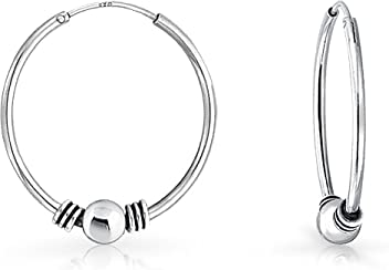 cae6eab75b Bali Style Tribal Ball Bead Continuous Endless Round Hoop Earrings For Women  Oxidized 925 Sterling Silver