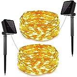 [2 Packs] Guirnalda Luces Exterior Solar, DANGZW 12M 120 LED Cadena de Luces con 8 modos Guirnaldas de Luz Impermeable…