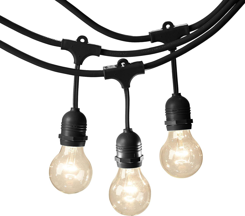 AmazonBasics Weatherproof Outdoor Patio String Lights With 15 G60 Globe Light Bulbs - 48 Foot, Black (Renewed)