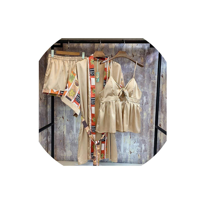 06fdc1643e46 yellow Women's Sleepwear Satin Silk Ice Pajamas Women's Vintage Printed  Night Clothes Three