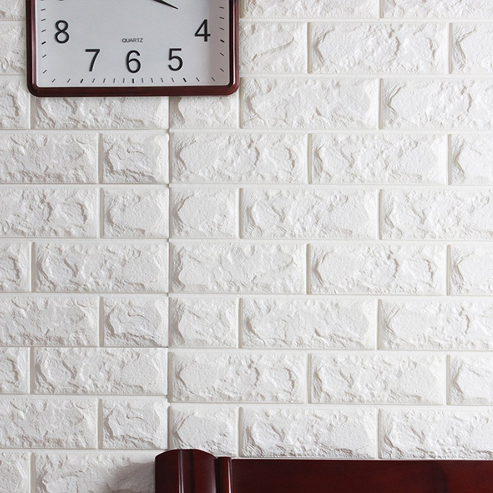 Amazoncom Yazi Creative D Brick PE Foam Wall Sticker Self - 3d brick wallpaper living room