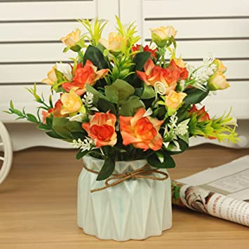 Amazoncom Decorative Artificial Flowers Color Ceramic Vase Rose - Which-artificial-flower-colors-are-good-for-a-home