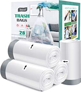 2.6 Gallon 220 Counts Strong Drawstring Trash Bags Garbage Bags by Teivio, Bathroom Trash Can Bin Liners, Small Plastic Bags for home office kitchen,Code R fit 10 Liter, 2,2.5,3 Gal