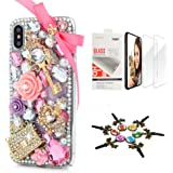 STENES iPhone XR Case - Stylish - 3D Handmade [Sparkle Series] Bling Bowknot Crown Key Bag Rose Flowers Design Cover…