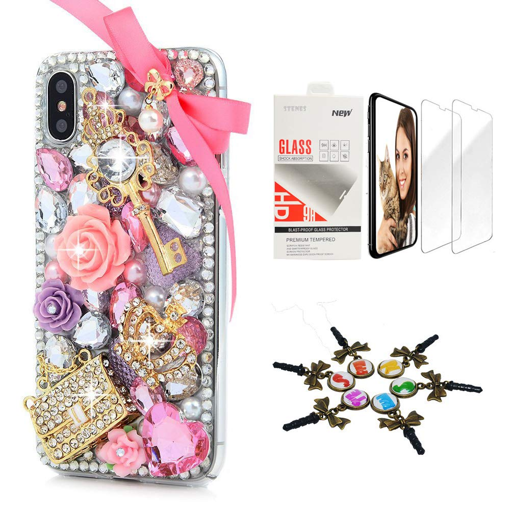 STENES iPhone Xs Max Case - Stylish - 3D Handmade [Sparkle Series] Bling Bowknot Crown Key Bag Rose Flowers Design Cover Compatible with iPhone Xs Max 6.5 Inch with Screen Protector [2 Pack] - Pink by STENES