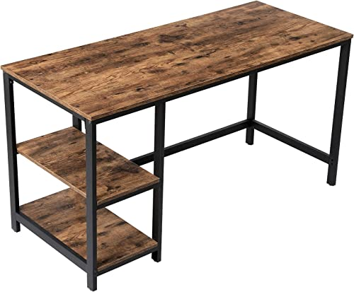 VASAGLE Industrial Computer Desk, 55 Inch Writing Desk, with 2 Storage Shelves on Left or Right, Stable Metal Frame, Easy Assembly ULWD55X